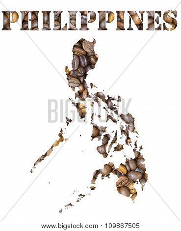 Philippines Word And Country Map Shaped With Coffee Beans Background