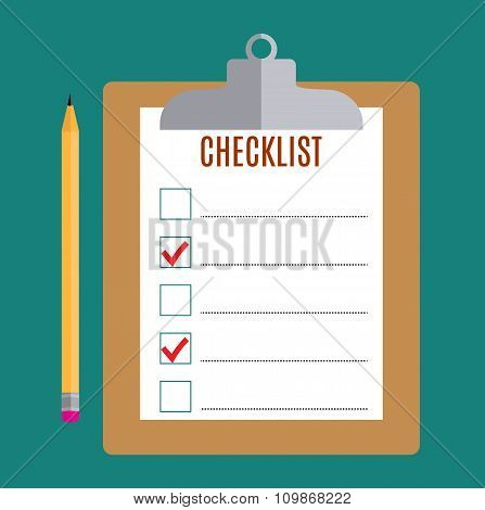 Clipboard with blank checklist form,