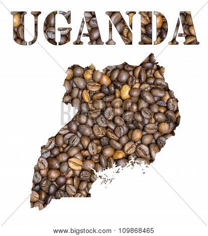 Uganda Word And Country Map Shaped With Coffee Beans Background