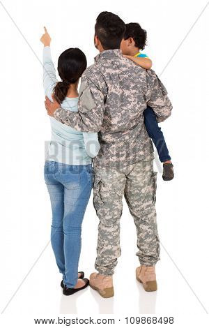 rear view of military family pointing empty space isolated on white background