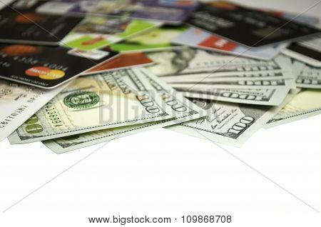 credit card hundred-dollar bills