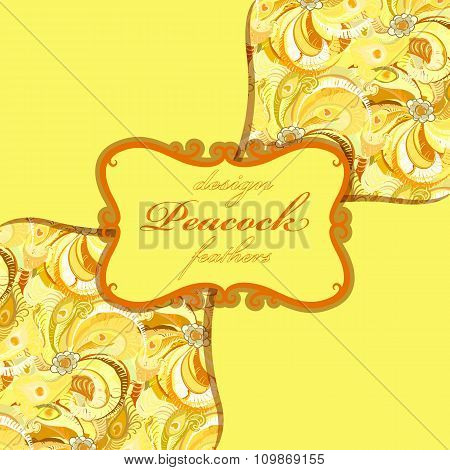 Yellow orange peacock feathers pattern background. Vintage label.