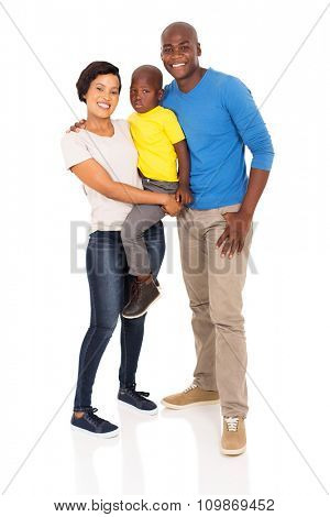 full length portrait of happy young african family isolated on white