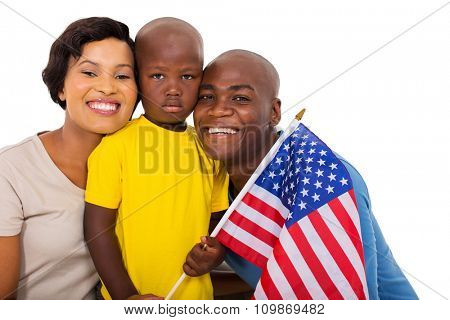 afro american family with usa flag isolated on white background