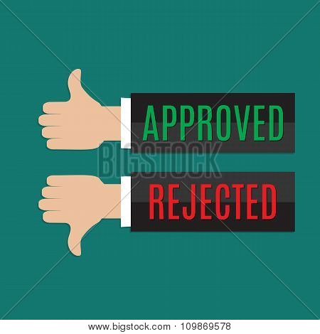 Approved and rejected sign