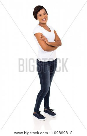 happy young afro american woman with arms folded