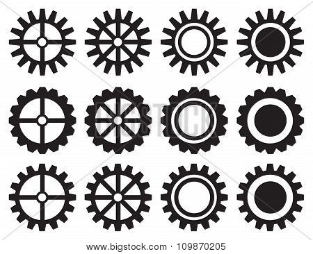 Industrial Toothed Wheels Vector Icon Set