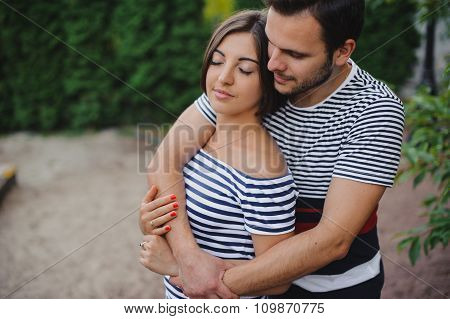 Young Happy Couple In Love Outdoor