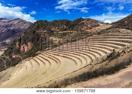 terraces and village in the Andes
