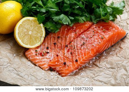 Raw Salmon fish fillet with fresh herbs on crumpled paper