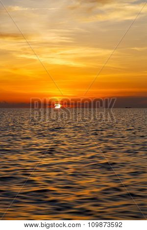 Sunrise Boat  And Sea In Thailand  Tao Bay Coastline