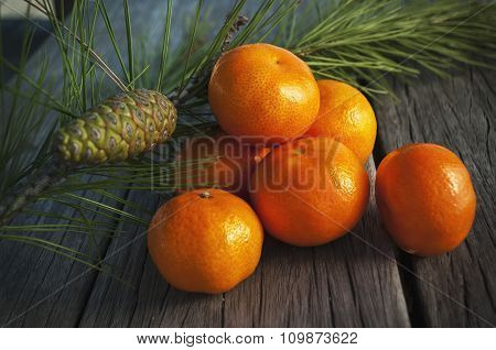 juicy oranges on the old wooden table