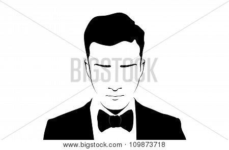 Illustration of Man with Black Suit