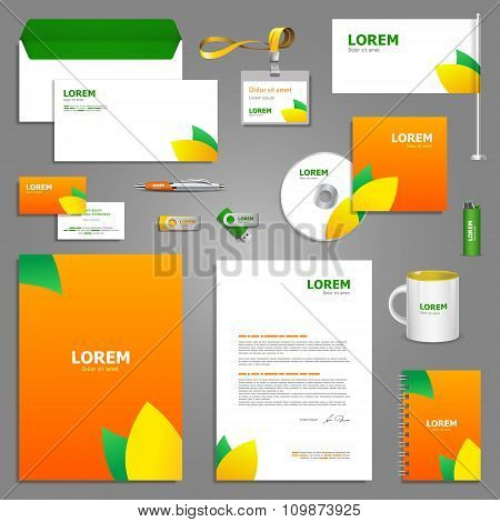 Floral Stationery Template Design With Leaves