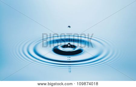 Perfect Water Drop Falling into Pool of Clean Fresh Water, Close up View