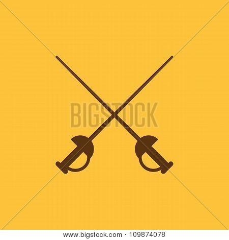 The sword icon. Epee symbol. Flat