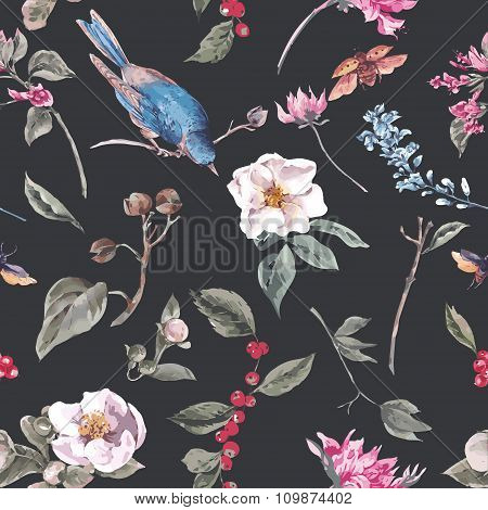 Seamless Background with Pink Flowers, Beetles and Birds