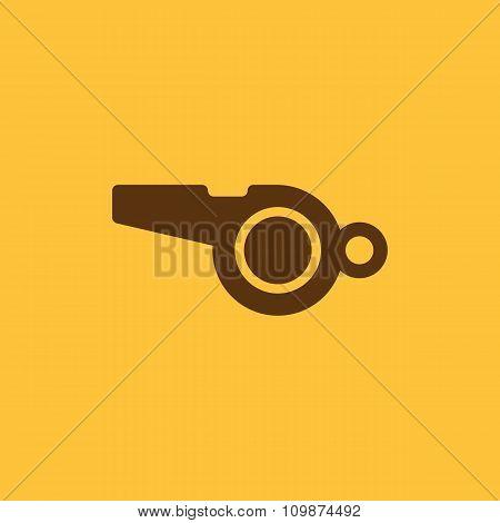 The whistle icon. Referee symbol. Flat