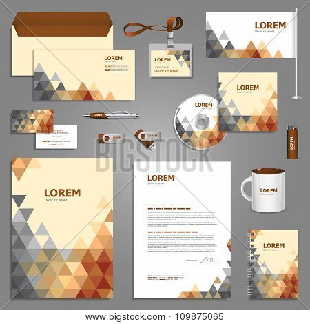 Stationery Template Design With Triangles