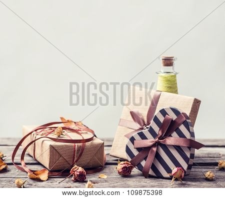 Vintage gift boxes on a table