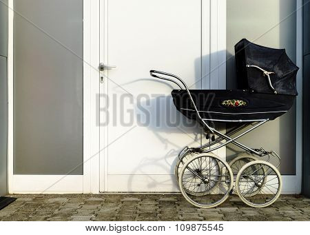 Retro Style Stroller Baby Carriage Outdoors