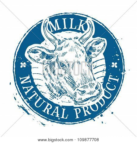 milk vector logo design template. cow or farm icon