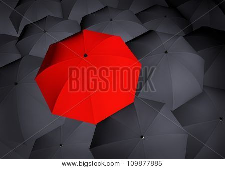 Top View On Unique Red Umbrella Among Many Dark Ones.