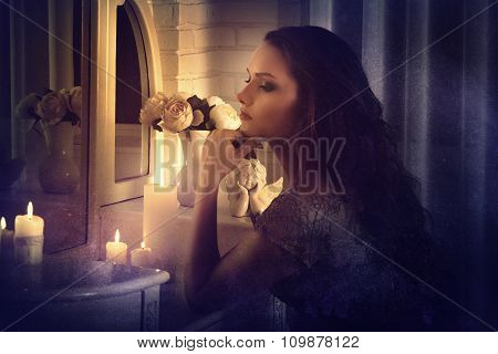Retro Style. Girl Sits In Front Of A Mirror