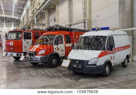 Kiev, Ukraine - September 22, 2015: Fire Trucks At The Exhibition