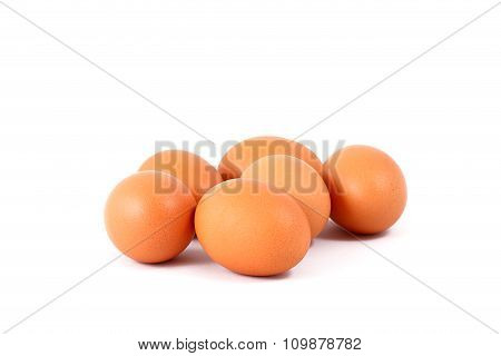 Six eggs isolated on white background
