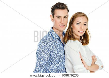 Beautiful young people in casual clothes. Isolated over white.
