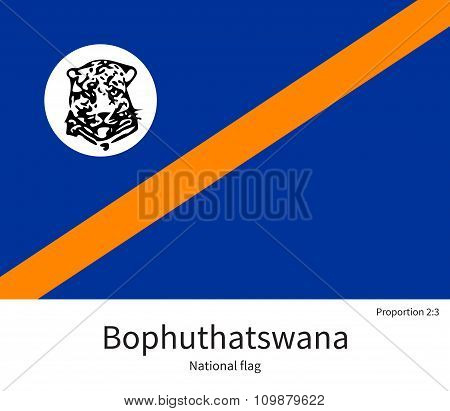 National flag of Bophuthatswana with correct proportions, element, colors