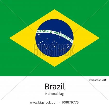 National flag of Brazil with correct proportions, element, colors