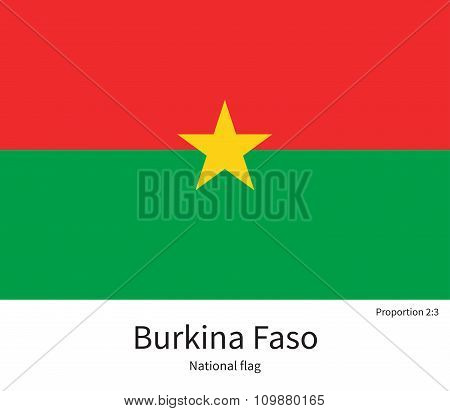National flag of Burkina Faso with correct proportions, element, colors