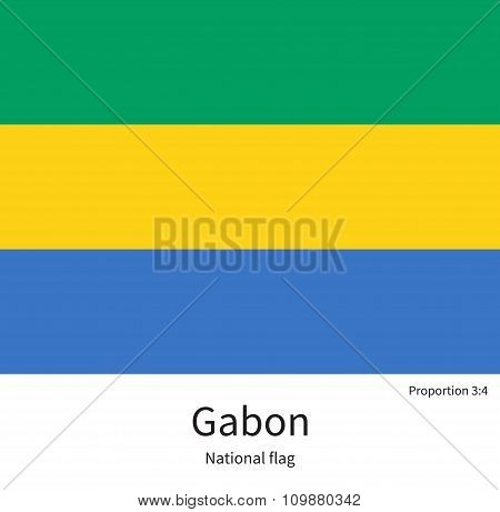 National flag of Gabon with correct proportions, element, colors