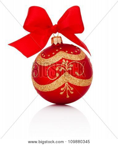 Red Decorations Christmas Ball With Ribbon Bow Isolated On White