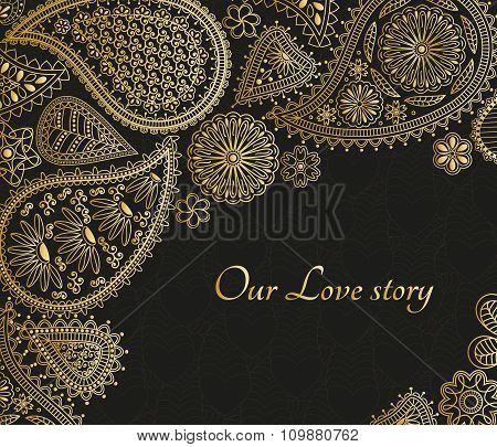 Floral paisley background with indian ormament and place for your text. Golden design with hearts.