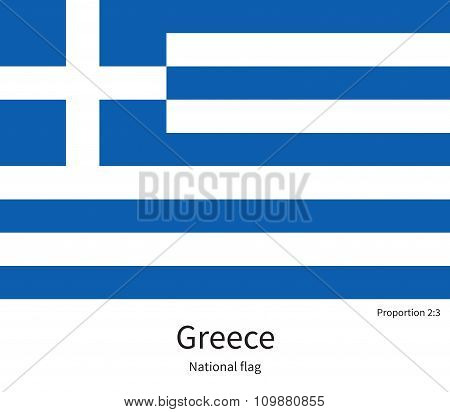 National flag of Greece with correct proportions, element, colors