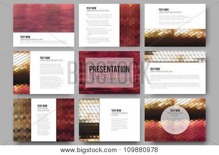Set of 9 templates for presentation slides. Abstract multicolored backgrounds. Geometrical patterns.