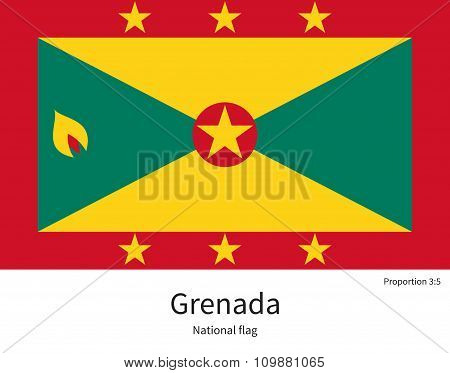 National flag of Grenada with correct proportions, element, colors