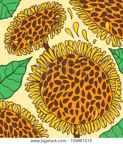 Colorful background with doodling hand drawn sunflowers