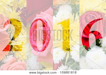 Happy New Year 2016 In Flower Theme