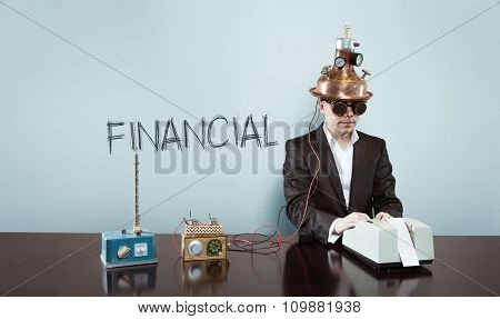 Financial concept with vintage businessman and calculator