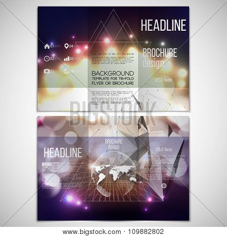 Vector set of tri-fold brochure design template on both sides with world globe element. Abstract mul
