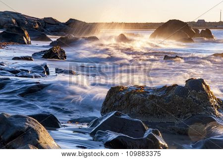 Rocky Beach And Wave
