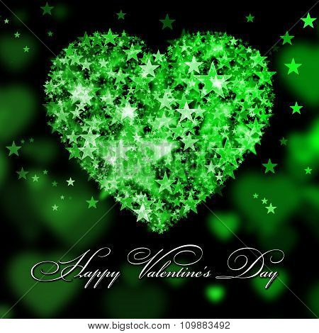 Happy Valentine's Day. Green Heart With The Stars