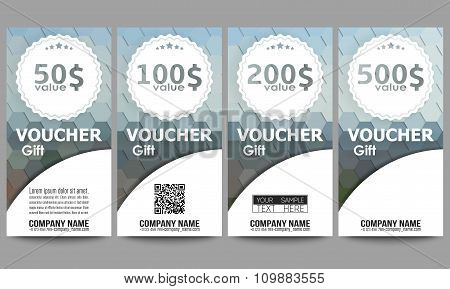 Set of modern gift voucher templates. Polygonal design vector, colorful geometric hexagonal backgrou