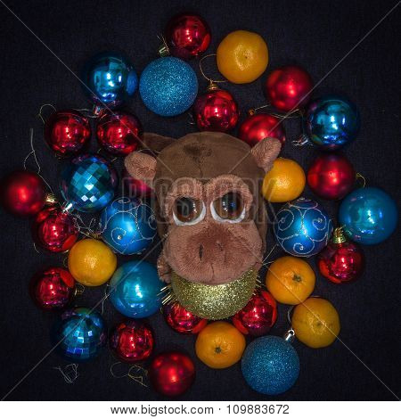 Monkey In Christmas Decorations. New Year Symbol.
