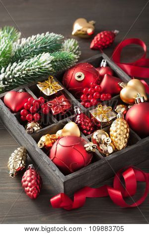 christmas gift and decoration in wooden box
