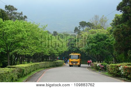 Tourist Bus Running Along The Road